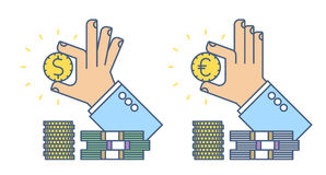 Businessman hand holding a dollar and euro coin. Flat line busines concept illustration of two types hand, money cash. Isolated vector infographic element for Royalty Free Stock Image