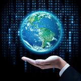 Businessman hand holding earth planet. Elements of this image are furnished by NASA Stock Photos