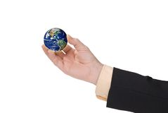 Businessman hand holding a globe stock photography