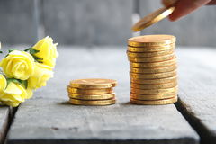 Businessman hand holding gold coins and nice flowers Stock Image