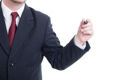 Businessman hand holding marker on white copy space Stock Photos