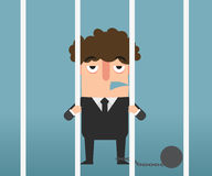 Businessman hand holding metal bars in jail illustration. Stock Photography