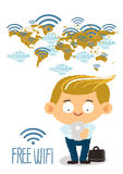Businessman hand holding mobile phone with free wi fi in worldmap Stock Images