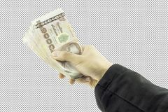 Businessman hand holding money and Man holding a wallet  on white background Royalty Free Stock Photos