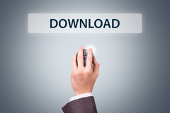 Businessman Hand Holding Mouse with Download Button Royalty Free Stock Photos