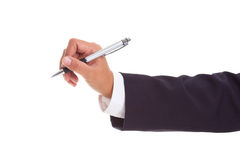 Businessman hand holding a pen Royalty Free Stock Image