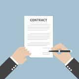 Businessman hand holding pen and signing business contract. VECTOR, EPS10 Royalty Free Stock Photo