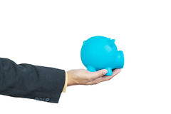 Businessman hand holding piggy bank Royalty Free Stock Photo