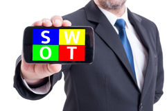 Businessman hand holding smartphone with swot analysis diagram Stock Photography