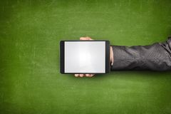 Businessman hand holding tablet front of Royalty Free Stock Images