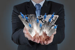 Businessman hand holds social network Royalty Free Stock Photo