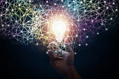 Businessman hand. Innovative idea concept. Businessman hand holding light bulb. Innovative idea concept stock image