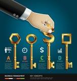Businessman hand with key. vector illustration