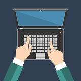 Businessman hand on laptop keyboard Stock Image