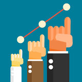 Businessman hand lifting up growth business graph. Business success concept. Vector illustration Stock Images