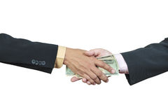 Businessman hand and money to other Royalty Free Stock Photos