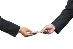 Businessman hand and money to other Royalty Free Stock Images