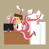 Businessman hand on octopus Royalty Free Stock Photography