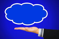 Businessman hand offer the cloud Stock Photography