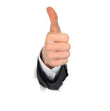 Businessman hand OK. In the white paper hole Stock Photo
