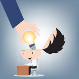 Businessman hand open head and put light bulb idea into brain, creative concept illustration vector in flat design Stock Photo