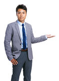 Businessman hand open palm Stock Image