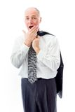 Businessman with hand over his mouth Stock Images