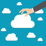 Businessman hand picked clouds. Vector flat illustration, EPS 10 Stock Photography