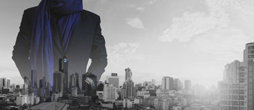 Businessman hand in pocket with multiple exposure cityscape view background Stock Photos