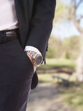 Businessman's hand in the pocket with wristwatch. Royalty Free Stock Photos