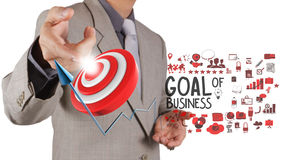 Businessman hand point to goal of business Royalty Free Stock Image