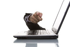 Businessman hand pointing. To you over a laptop Stock Images