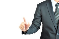 Businessman hand pointing on empty space Stock Images