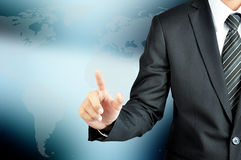 Businessman hand pointing on empty virtual screen Royalty Free Stock Photo