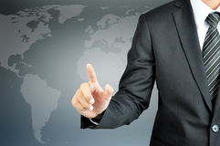 Businessman hand pointing on empty virtual screen Royalty Free Stock Images