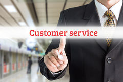 Businessman hand pointing on screen keyboard customer service Royalty Free Stock Photography