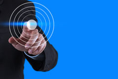Businessman hand pointing at target symbol. As business concept Royalty Free Stock Photography