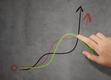 Businessman hand pointing to graph Stock Photography