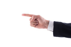 Businessman hand pointing to the left index finger. On a white background royalty free stock image