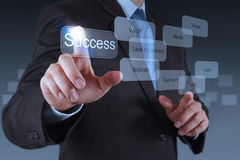 Businessman hand pointing to success diagram Stock Photo