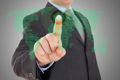 Businessman hand pointing with world map Stock Images
