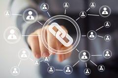 Businessman hand press icon button web link Stock Photo