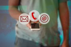 Businessman hand press telephone online button icon Royalty Free Stock Images