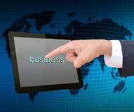 Businessman hand pressing business button Stock Photography
