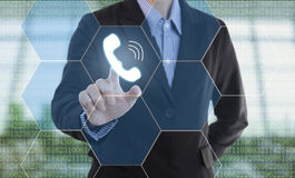 Businessman hand pressing button support call. Sign on virtual screen. business concept Stock Photo