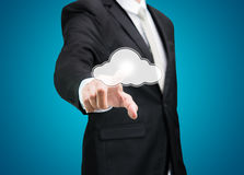 Businessman hand pressing cloud icon on concept for cloud comput Stock Photos