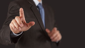 Businessman hand pressing an imaginary button Royalty Free Stock Photo