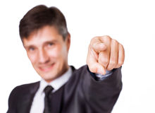 Businessman hand pressing an imaginary button Stock Photo