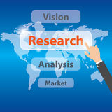 Businessman hand pressing research. Vector concept research Stock Photos