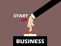 Businessman hand pressing start button on business Stock Photography